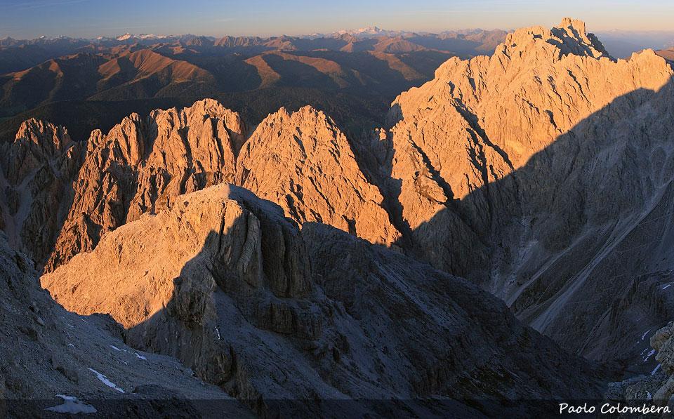 Tramonto sulla Rocca dei Baranci e sulle cime di Ganda