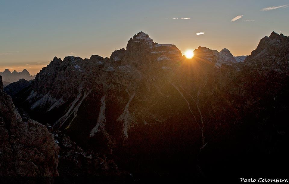 Il sole tramonta dietro lo Spiz di Moschesin