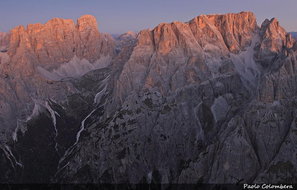 Alba sulla Croda dei Toni e sul monte Popera