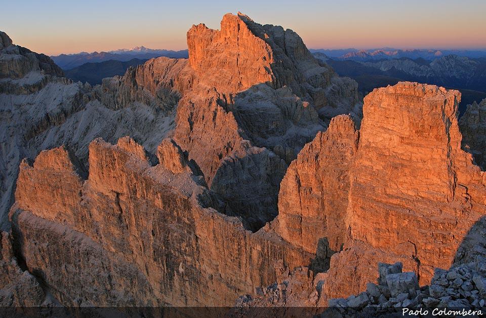 Tramonto sulla cima d'Ambata dalla Croda di Ligonto