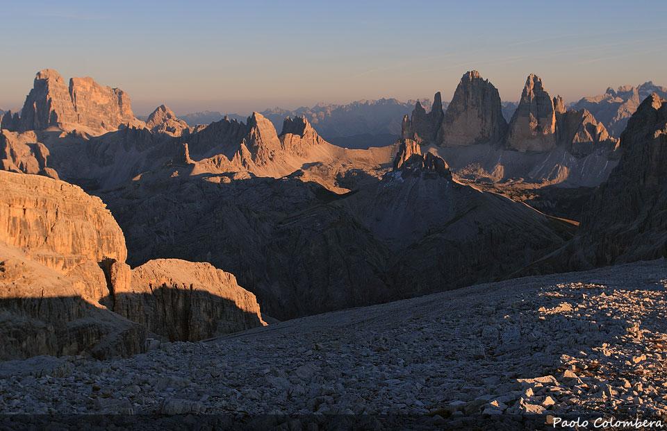 Tramonto sulle Dolomiti di Sesto, a sinistra la Croda dei Toni mentre a destra le Tre Cime di Lavaredo