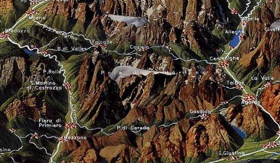 Cartina delle Dolomiti