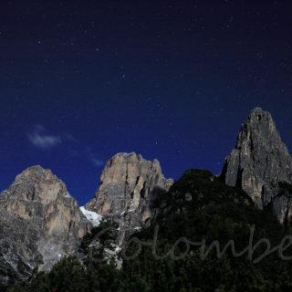 Col dell'Agnel, Cima d'Auronzo e Croda Gravasecca illuminate dalla Luna